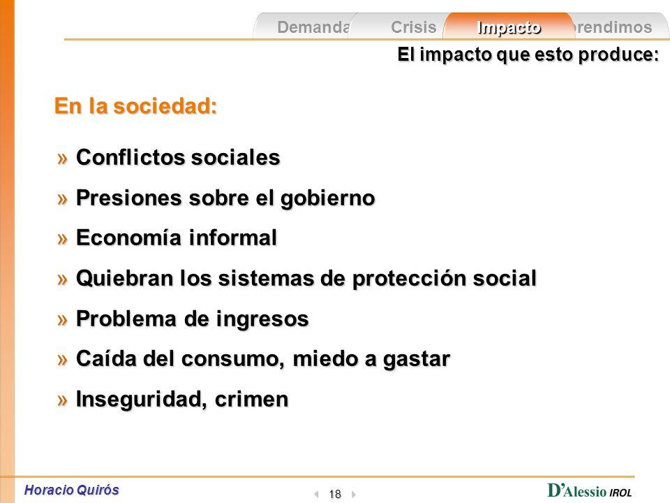 Horacio Quirós 17 Las demandas de los escenarios Las demandas de los escenarios Las crisis El impacto en la gente Lo que aprendimos en las crisis