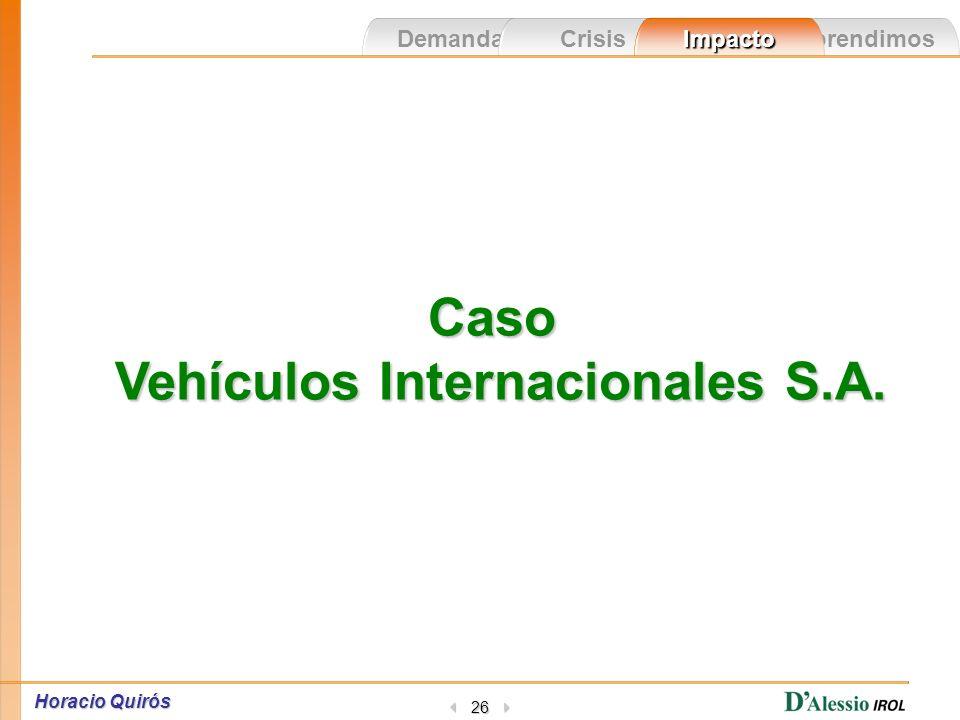 Aprendimos Demandas CrisisImpacto Horacio Quirós 25 Percepción La crisis pasó Recuperación de la empresa »Quedan pendientes: - La remuneración de los empleados.