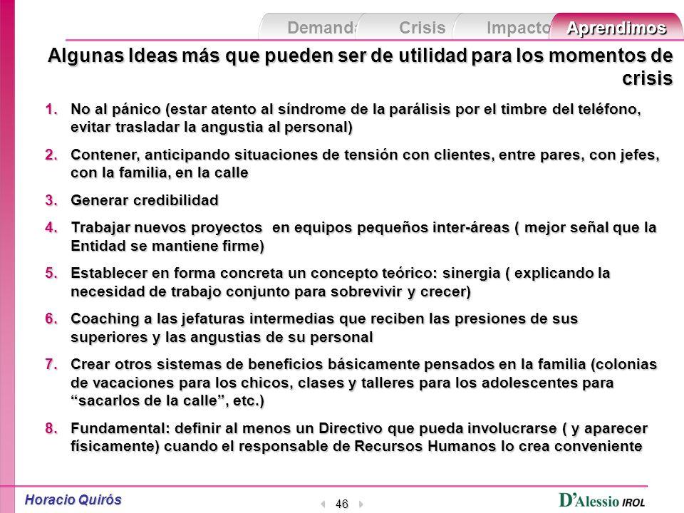 Demanda Crisis ImpactoAprendimos Horacio Quirós 45 No de todo por supuesto