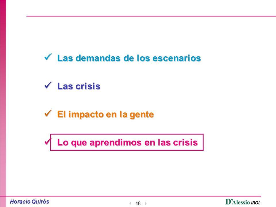 Demanda Crisis ImpactoAprendimos Horacio Quirós 47 Y si los modelos tradicionales y los nuevos no se aplican, Guíese por el sentido común, sus valores y su experiencia (inherentes a Ud.