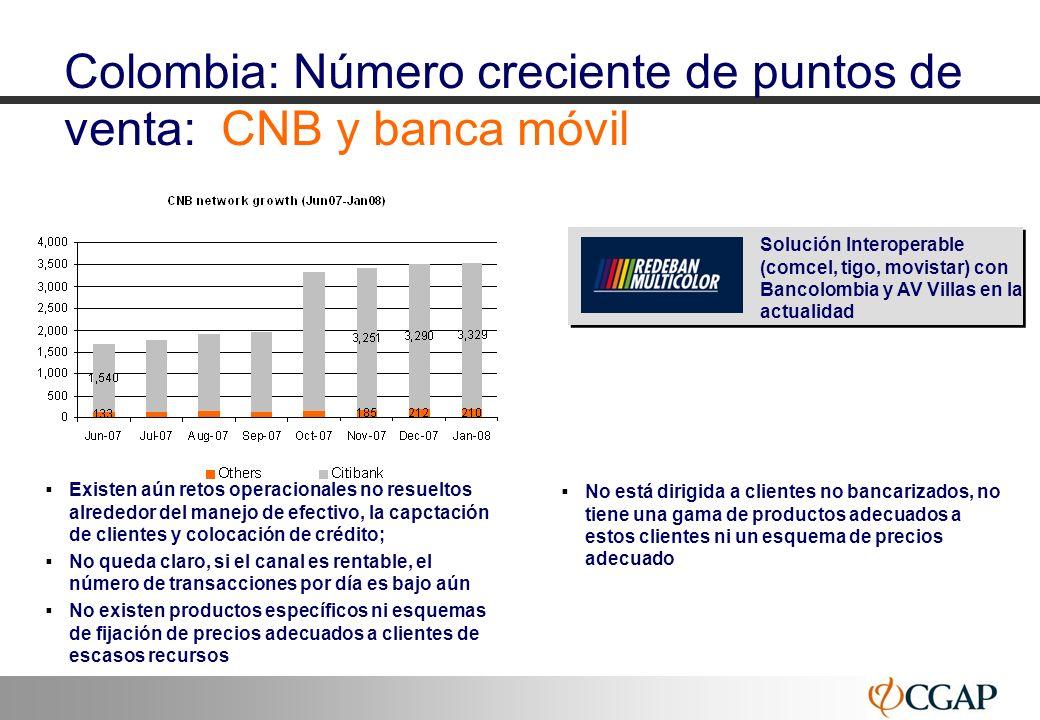10 Colombia: Número creciente de puntos de venta: CNB y banca móvil Existen aún retos operacionales no resueltos alrededor del manejo de efectivo, la