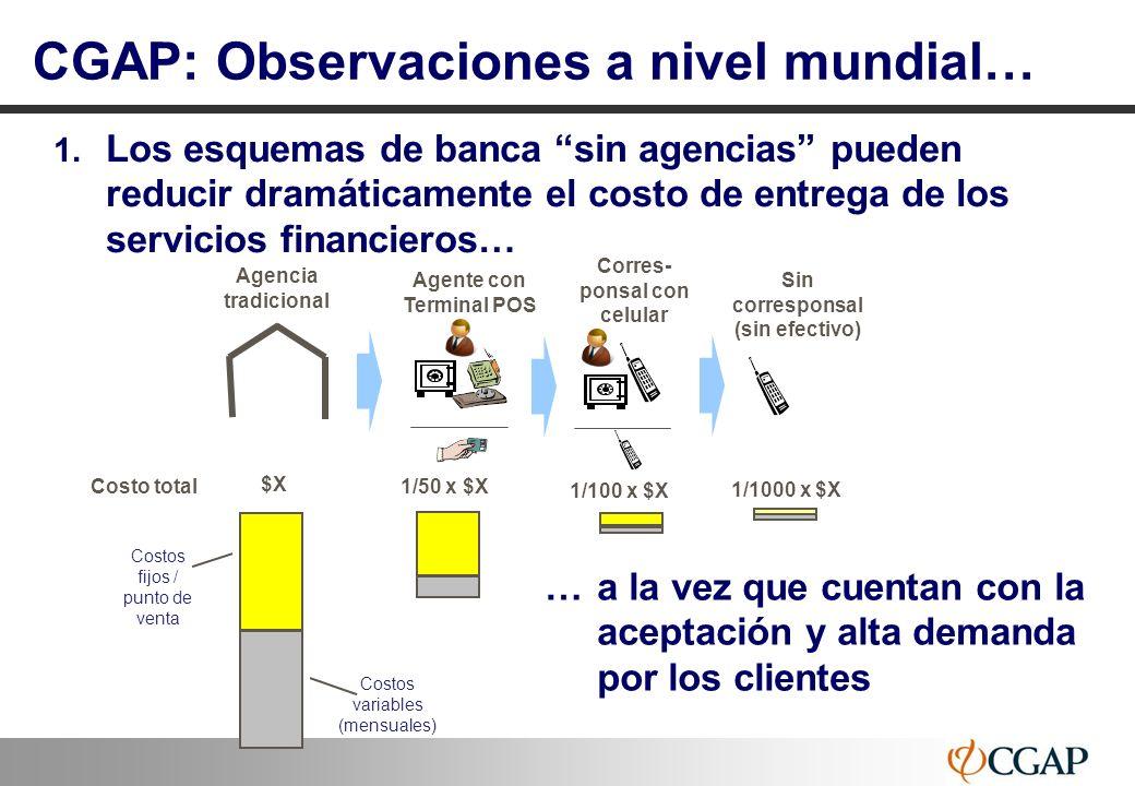 11 CGAP: Observaciones a nivel mundial… 1. Los esquemas de banca sin agencias pueden reducir dramáticamente el costo de entrega de los servicios finan