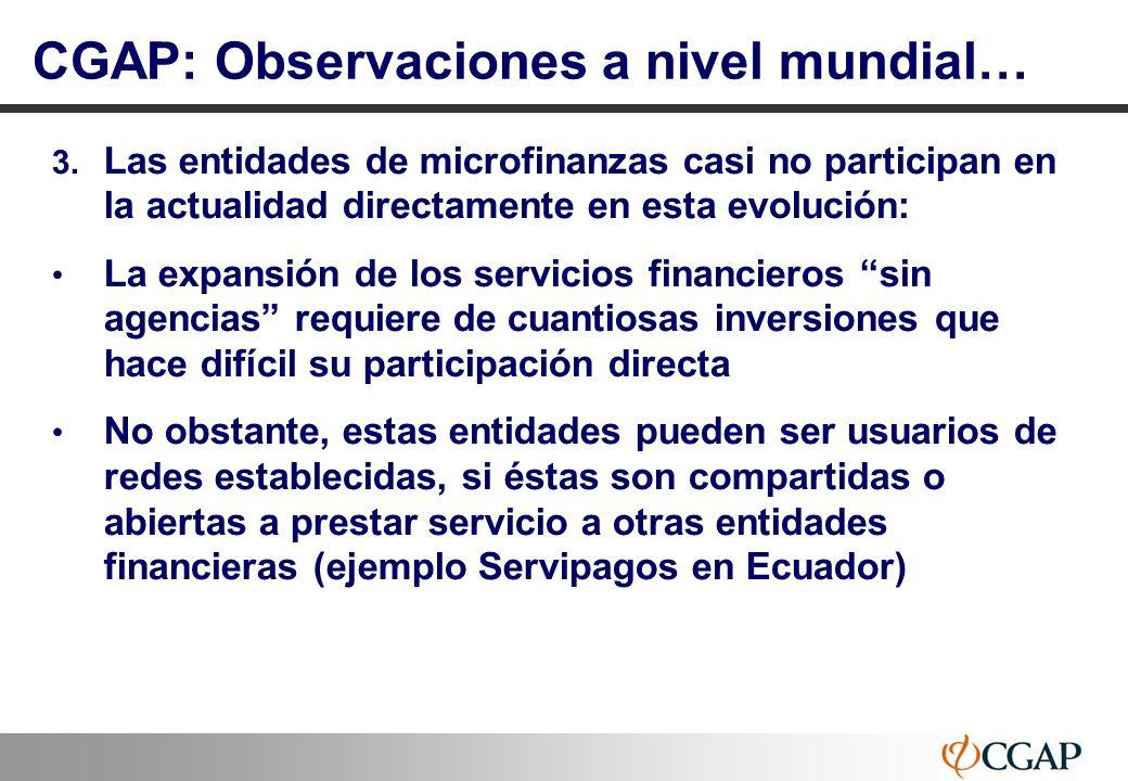 13 3. Las entidades de microfinanzas casi no participan en la actualidad directamente en esta evolución: La expansión de los servicios financieros sin