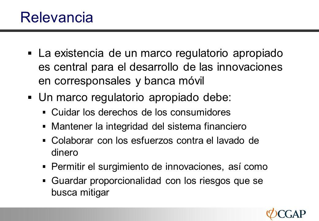 21 Relevancia La existencia de un marco regulatorio apropiado es central para el desarrollo de las innovaciones en corresponsales y banca móvil Un mar