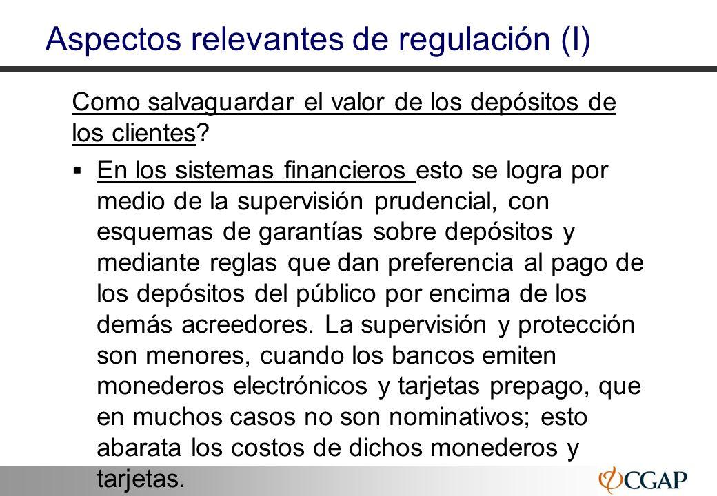 23 Aspectos relevantes de regulación (I) Como salvaguardar el valor de los depósitos de los clientes? En los sistemas financieros esto se logra por me