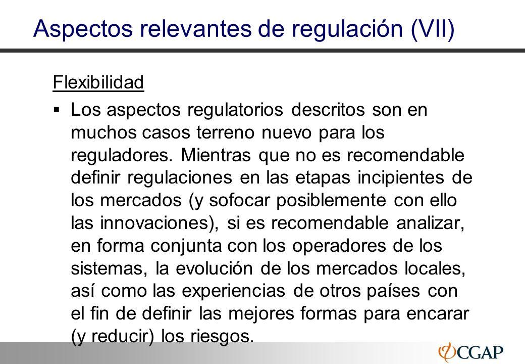 30 Aspectos relevantes de regulación (VII) Flexibilidad Los aspectos regulatorios descritos son en muchos casos terreno nuevo para los reguladores. Mi