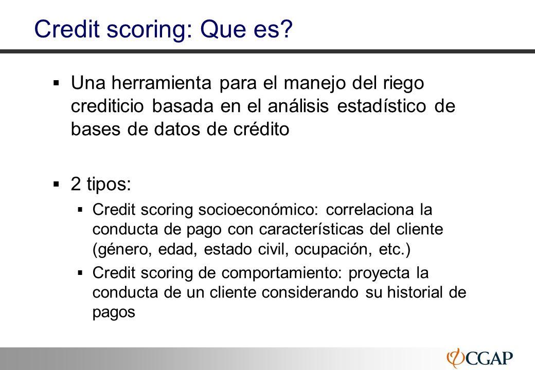 34 Credit scoring: Que es? Una herramienta para el manejo del riego crediticio basada en el análisis estadístico de bases de datos de crédito 2 tipos: