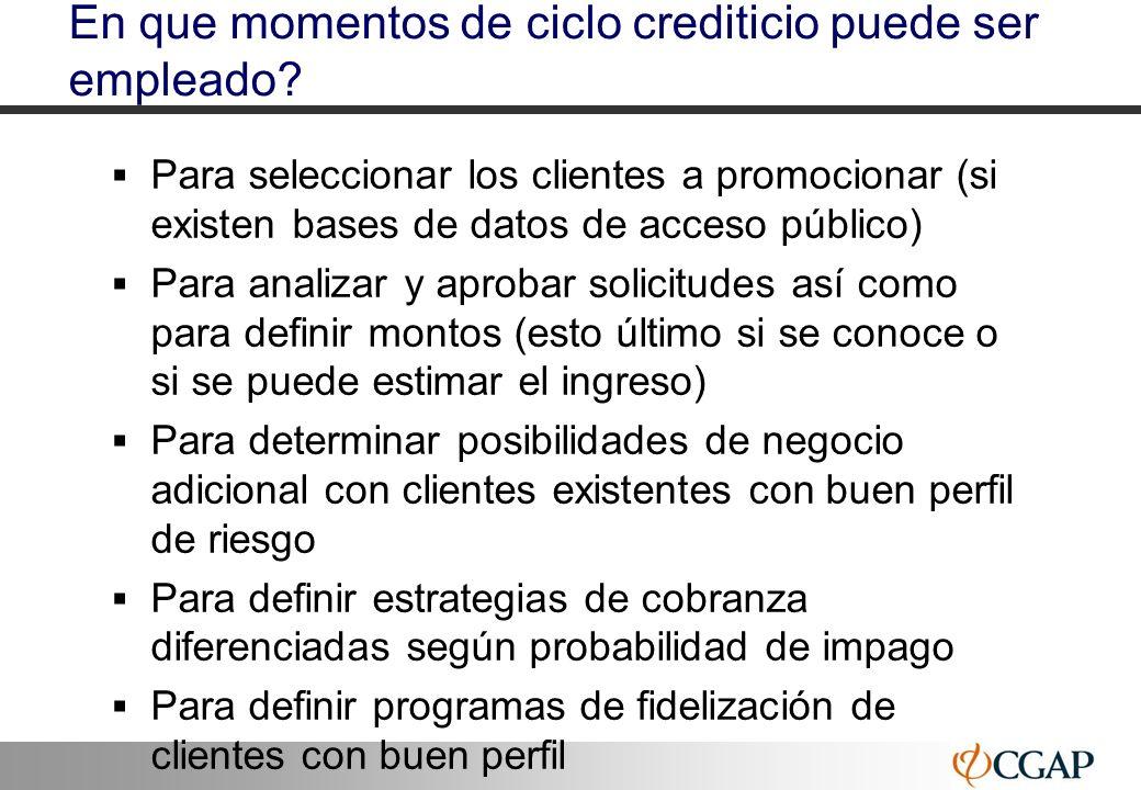 35 En que momentos de ciclo crediticio puede ser empleado? Para seleccionar los clientes a promocionar (si existen bases de datos de acceso público) P