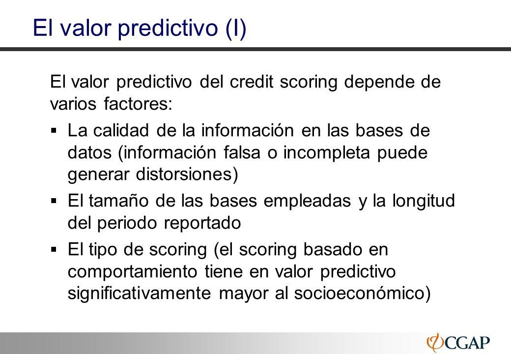 36 El valor predictivo (I) El valor predictivo del credit scoring depende de varios factores: La calidad de la información en las bases de datos (info