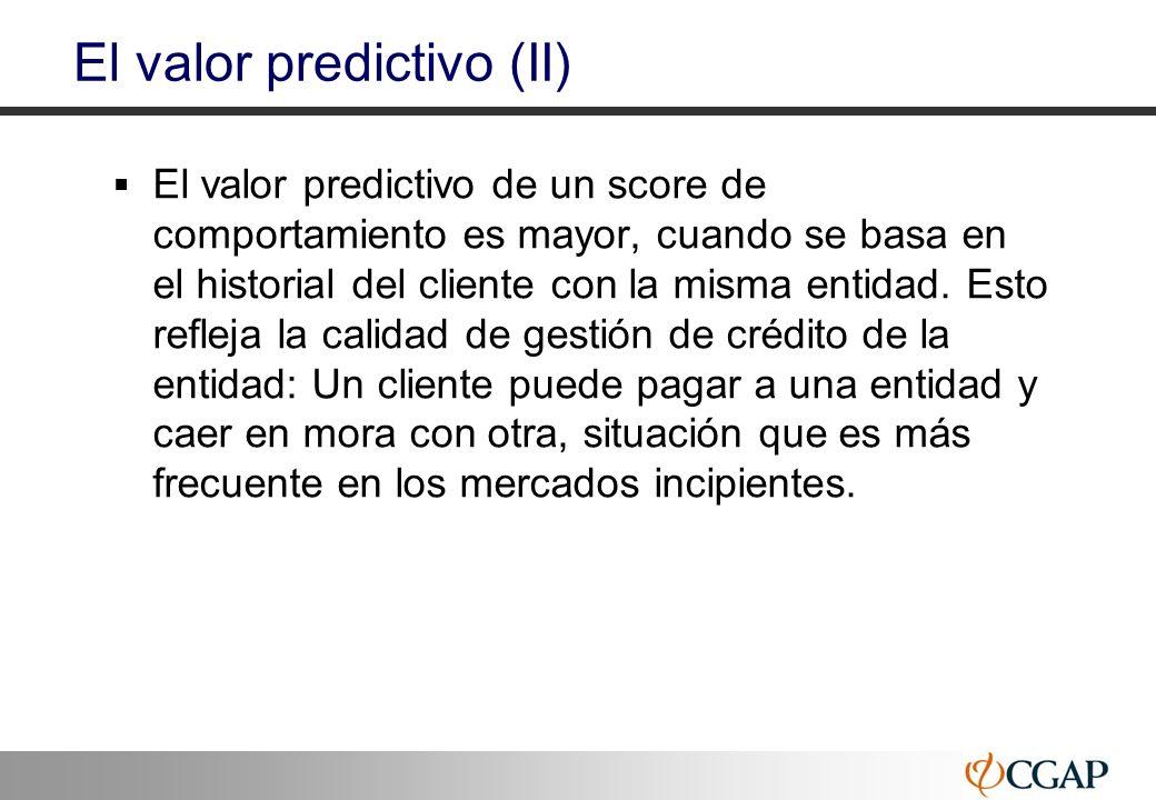 37 El valor predictivo (II) El valor predictivo de un score de comportamiento es mayor, cuando se basa en el historial del cliente con la misma entida
