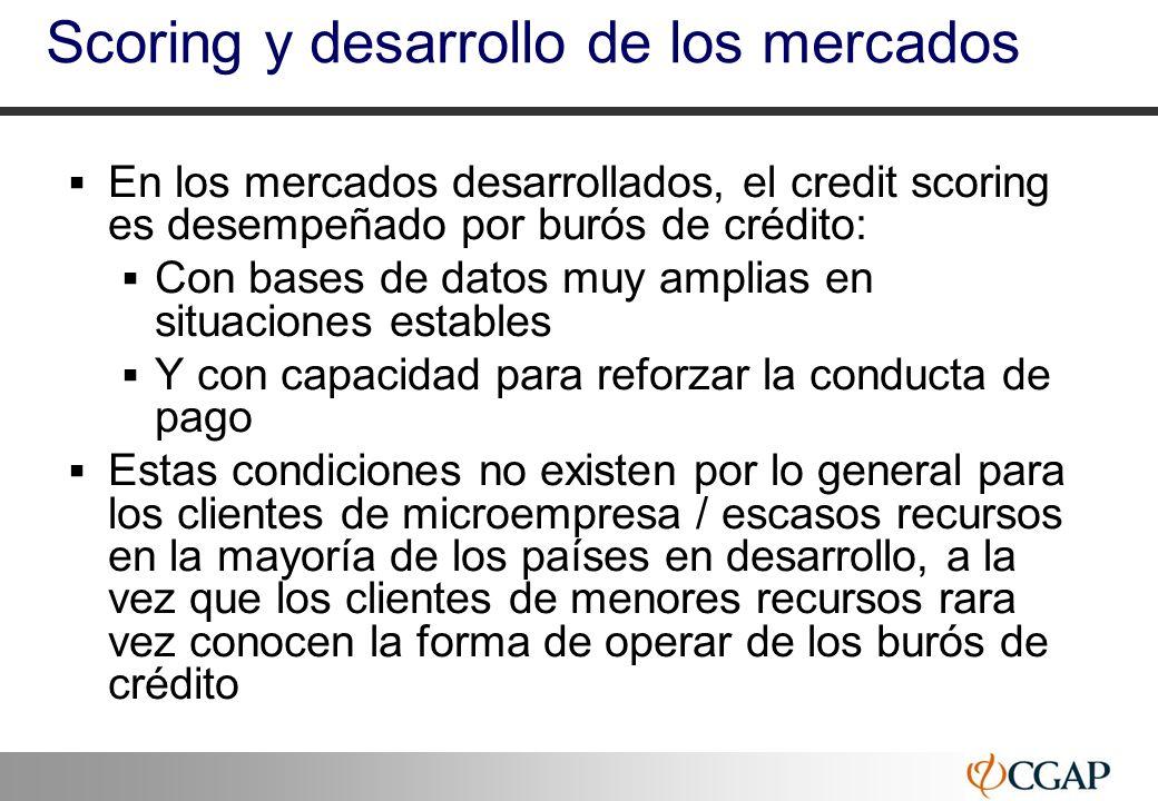 38 Scoring y desarrollo de los mercados En los mercados desarrollados, el credit scoring es desempeñado por burós de crédito: Con bases de datos muy a