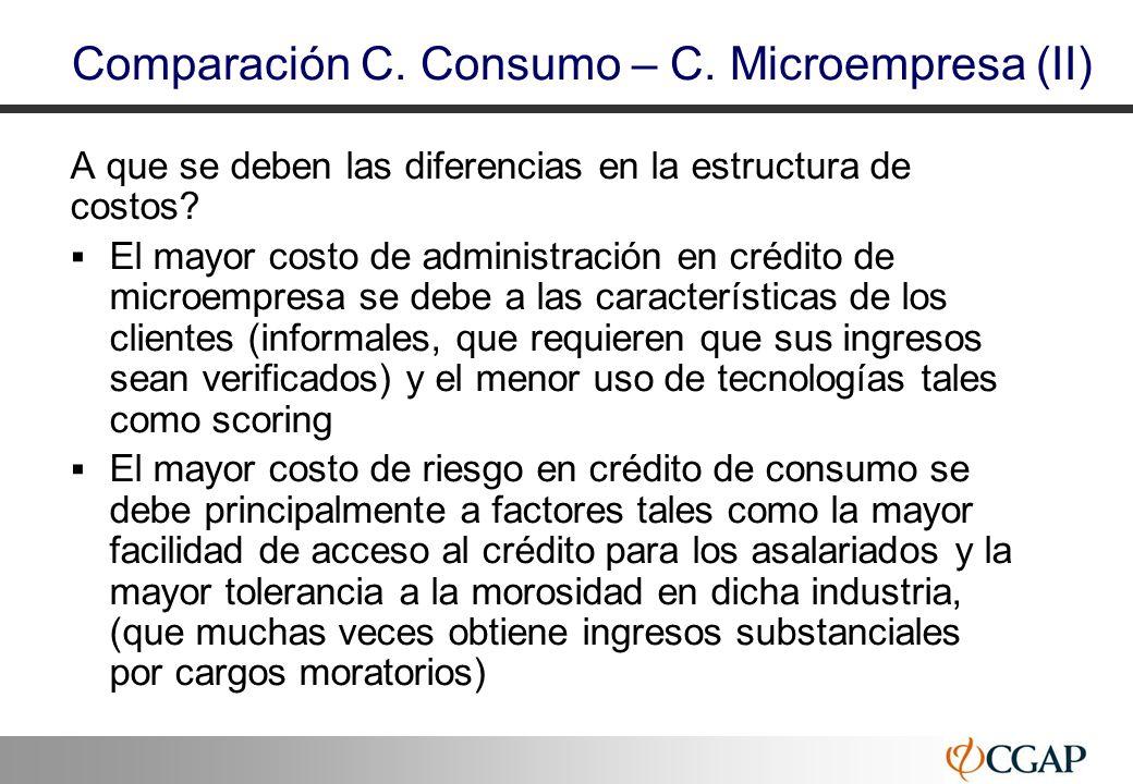 41 A que se deben las diferencias en la estructura de costos? El mayor costo de administración en crédito de microempresa se debe a las característica