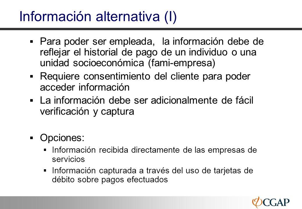 44 Información alternativa (I) Para poder ser empleada, la información debe de reflejar el historial de pago de un individuo o una unidad socioeconómi