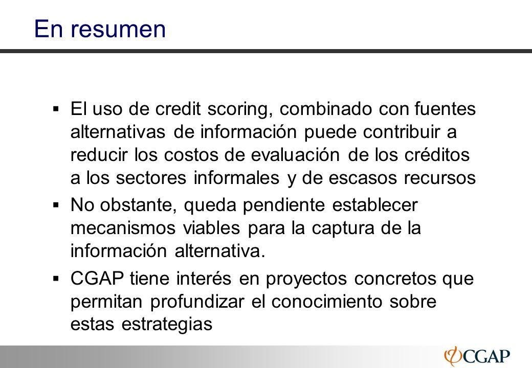 47 En resumen El uso de credit scoring, combinado con fuentes alternativas de información puede contribuir a reducir los costos de evaluación de los c
