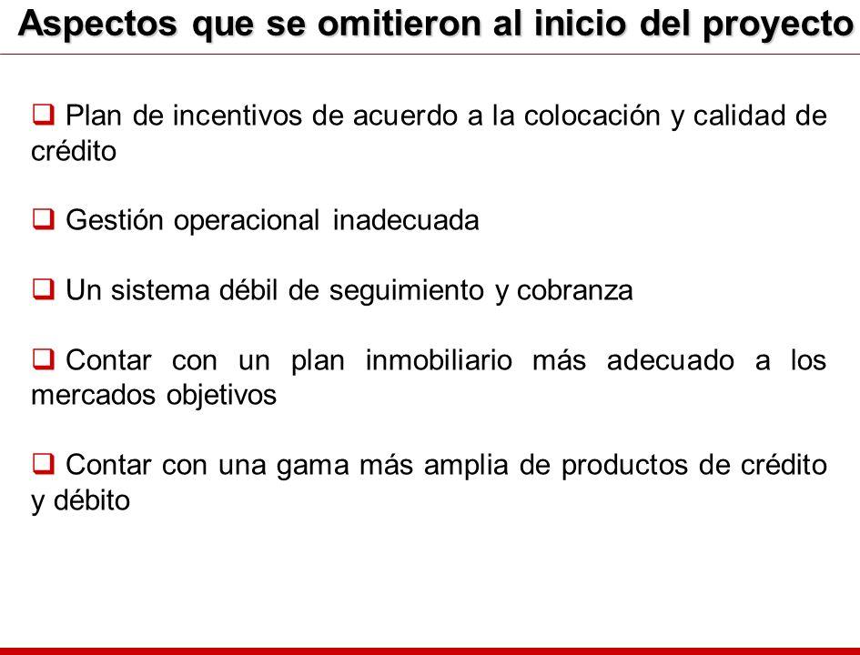 Aspectos que se omitieron al inicio del proyecto Plan de incentivos de acuerdo a la colocación y calidad de crédito Gestión operacional inadecuada Un