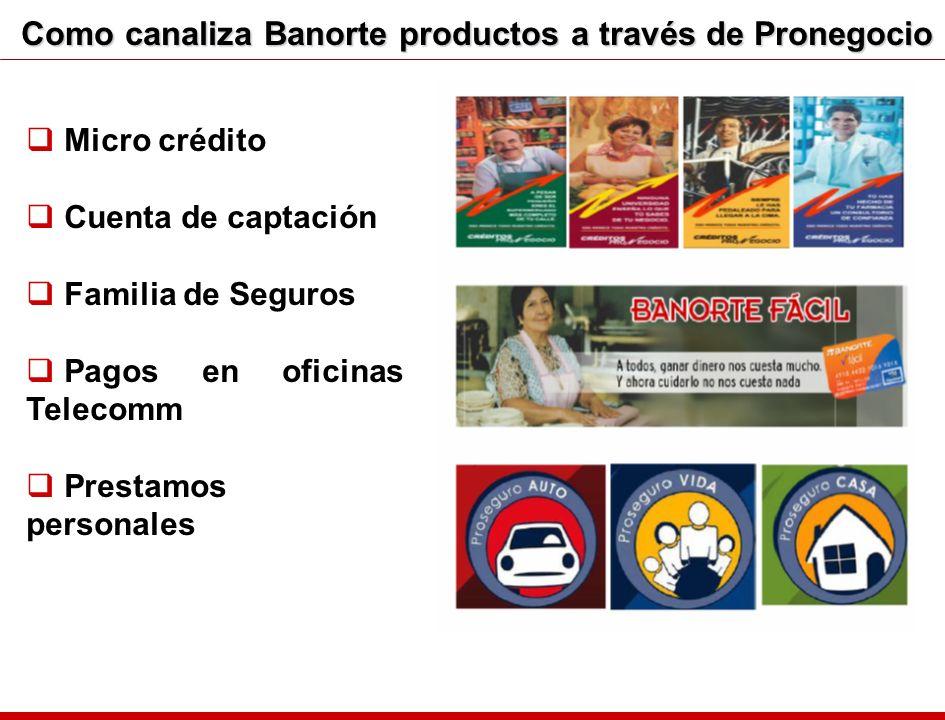 Como canaliza Banorte productos a través de Pronegocio Micro crédito Cuenta de captación Familia de Seguros Pagos en oficinas Telecomm Prestamos perso