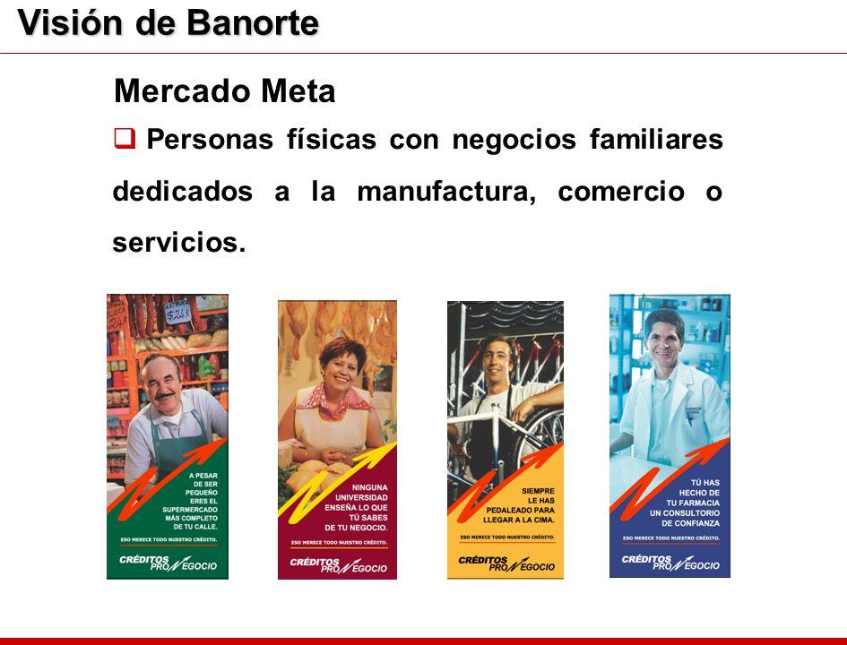 Visión de Banorte Personas físicas con negocios familiares dedicados a la manufactura, comercio o servicios. Mercado Meta