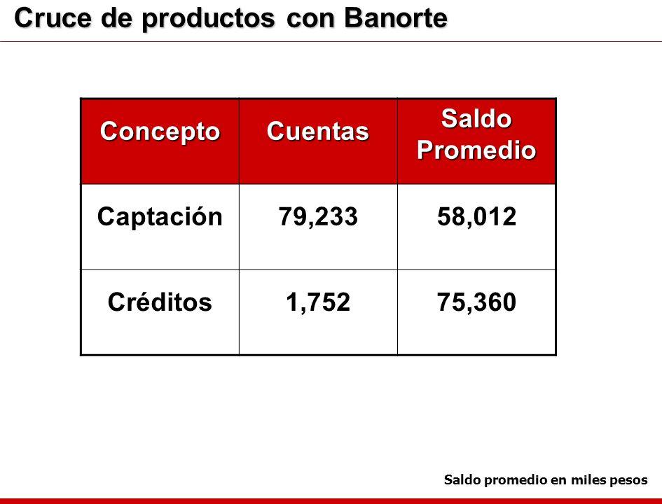 Saldo promedio en miles pesos Cruce de productos con Banorte ConceptoCuentas Saldo Promedio Captación79,23358,012 Créditos1,75275,360