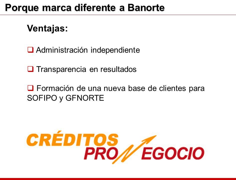 Porque marca diferente a Banorte Ventajas: Administración independiente Transparencia en resultados Formación de una nueva base de clientes para SOFIP