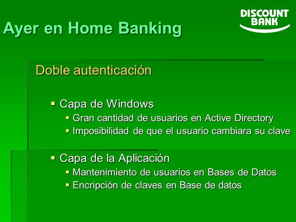 Ayer en Home Banking Doble autenticación Capa de Windows Capa de Windows Gran cantidad de usuarios en Active Directory Gran cantidad de usuarios en Ac