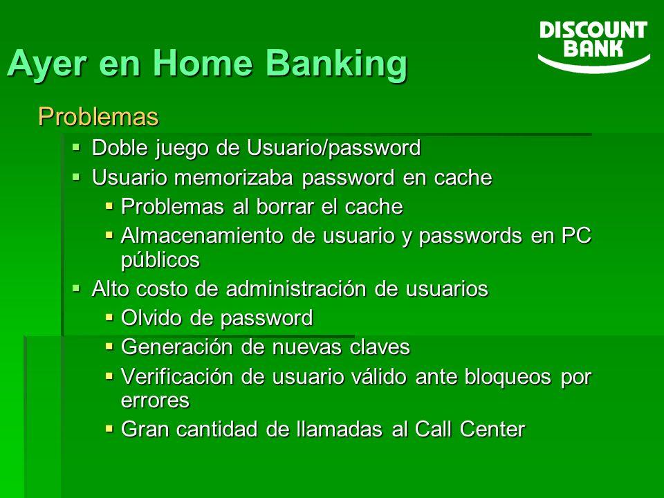 Ayer en Home Banking Problemas Doble juego de Usuario/password Doble juego de Usuario/password Usuario memorizaba password en cache Usuario memorizaba