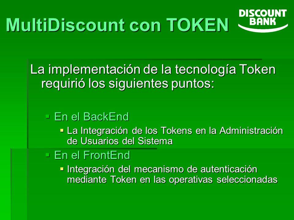 La implementación de la tecnología Token requirió los siguientes puntos: En el BackEnd En el BackEnd La Integración de los Tokens en la Administración