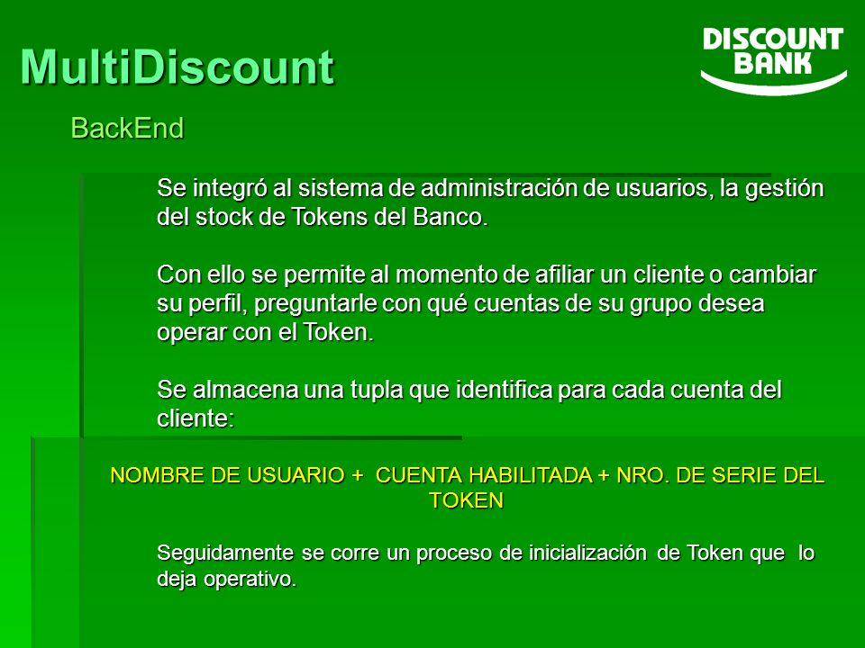 MultiDiscount BackEnd Se integró al sistema de administración de usuarios, la gestión del stock de Tokens del Banco. Con ello se permite al momento de