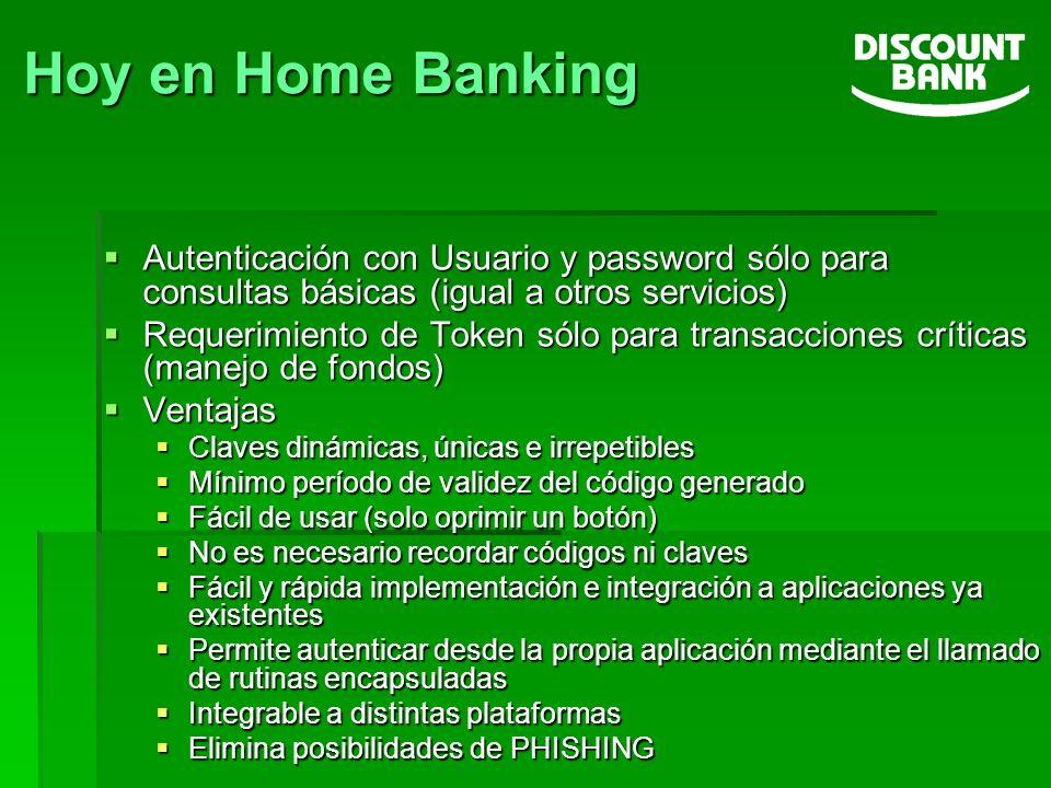Hoy en Home Banking Autenticación con Usuario y password sólo para consultas básicas (igual a otros servicios) Autenticación con Usuario y password só