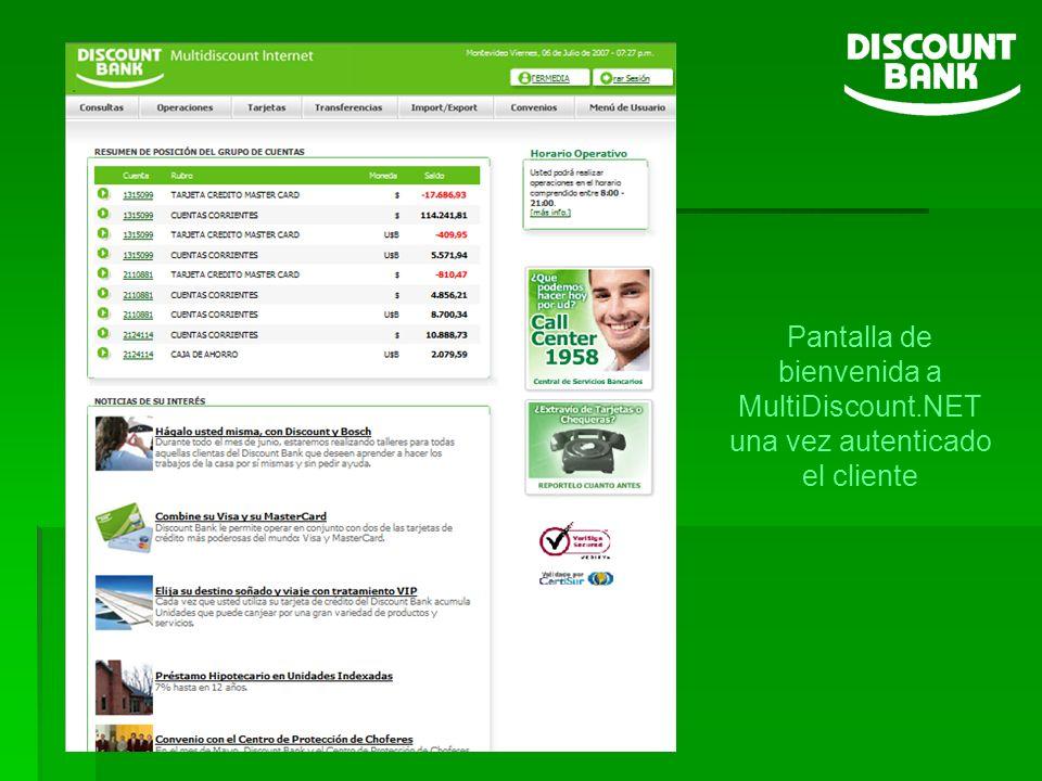 Pantalla de bienvenida a MultiDiscount.NET una vez autenticado el cliente