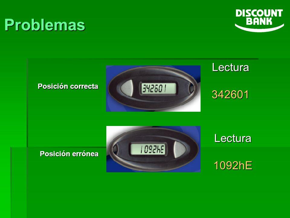 Problemas Posición correcta Posición errónea Lectura342601 Lectura1092hE