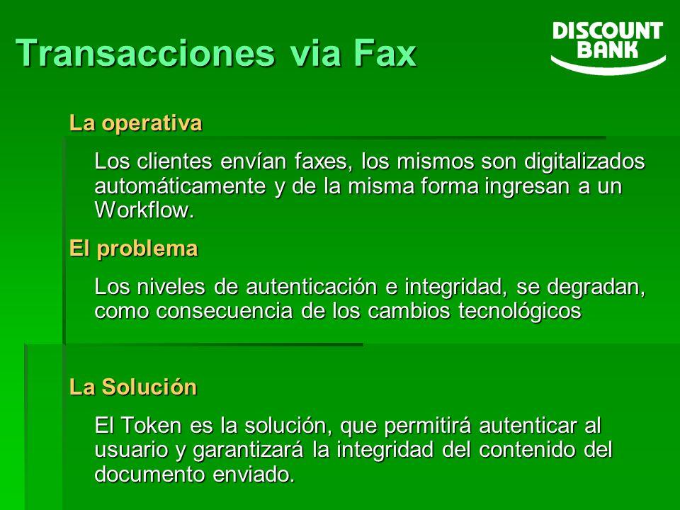 Transacciones via Fax La operativa Los clientes envían faxes, los mismos son digitalizados automáticamente y de la misma forma ingresan a un Workflow.