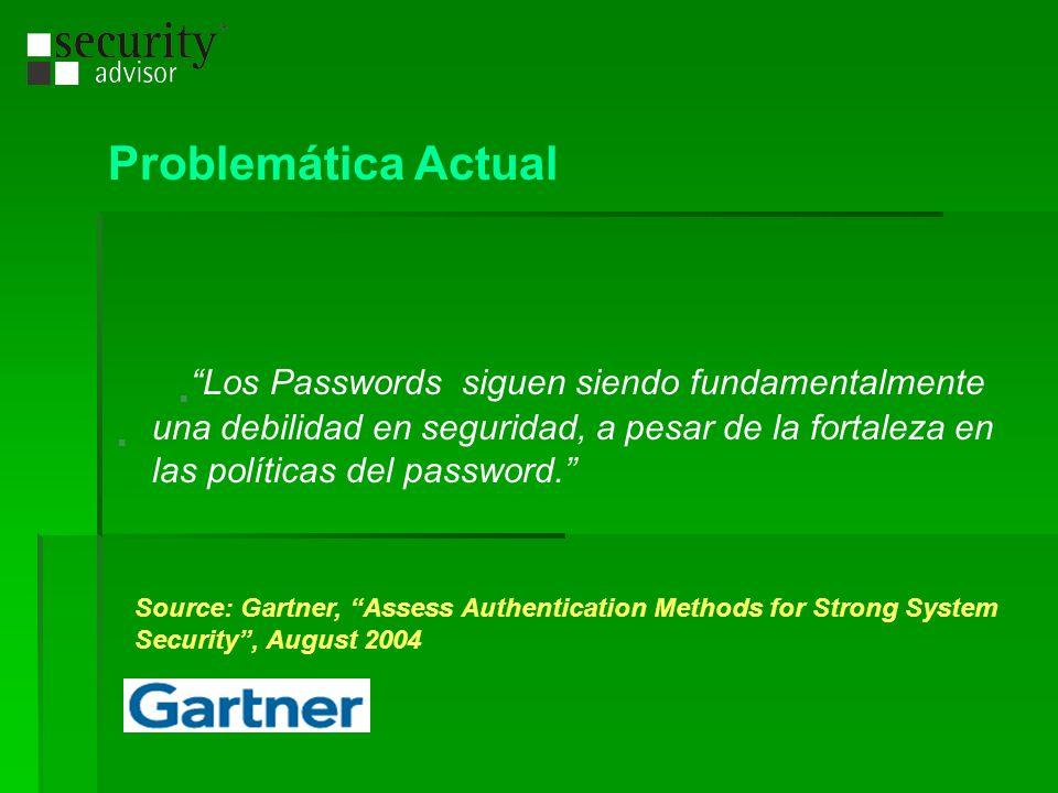 Problemática Actual Los Passwords siguen siendo fundamentalmente una debilidad en seguridad, a pesar de la fortaleza en las políticas del password. So