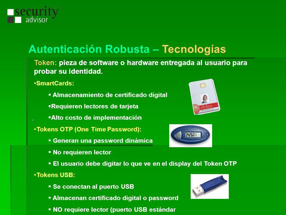 Token: pieza de software o hardware entregada al usuario para probar su identidad. SmartCards: Almacenamiento de certificado digital Requieren lectore