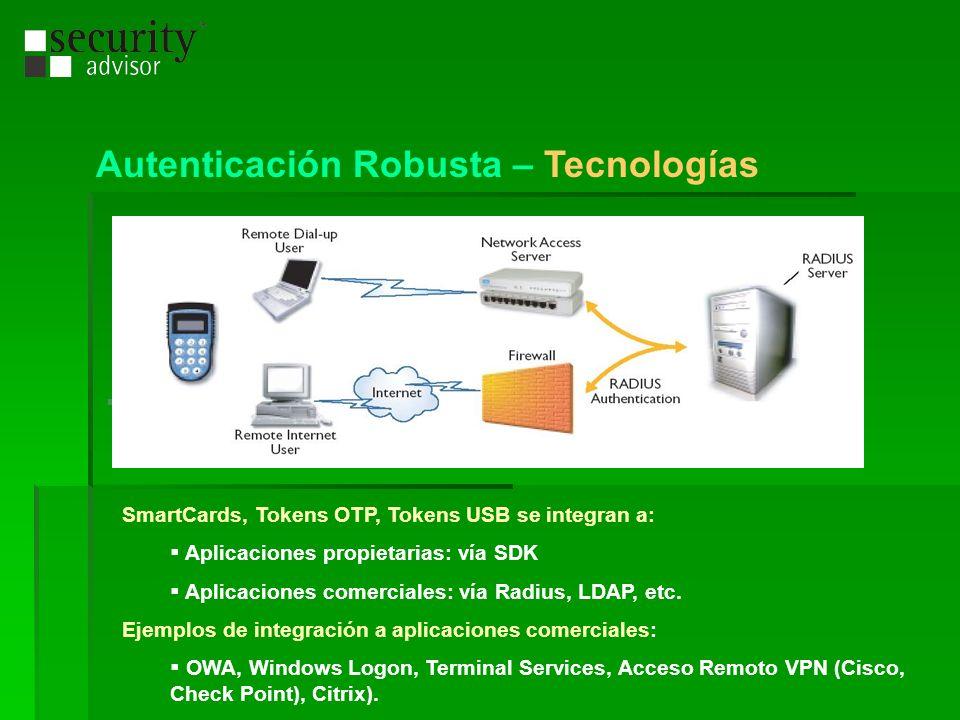 SmartCards, Tokens OTP, Tokens USB se integran a: Aplicaciones propietarias: vía SDK Aplicaciones comerciales: vía Radius, LDAP, etc. Ejemplos de inte