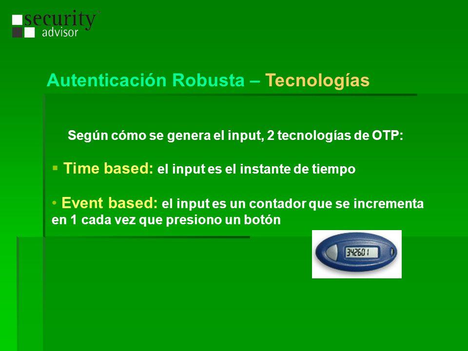 Según cómo se genera el input, 2 tecnologías de OTP: Time based: el input es el instante de tiempo Event based: el input es un contador que se increme