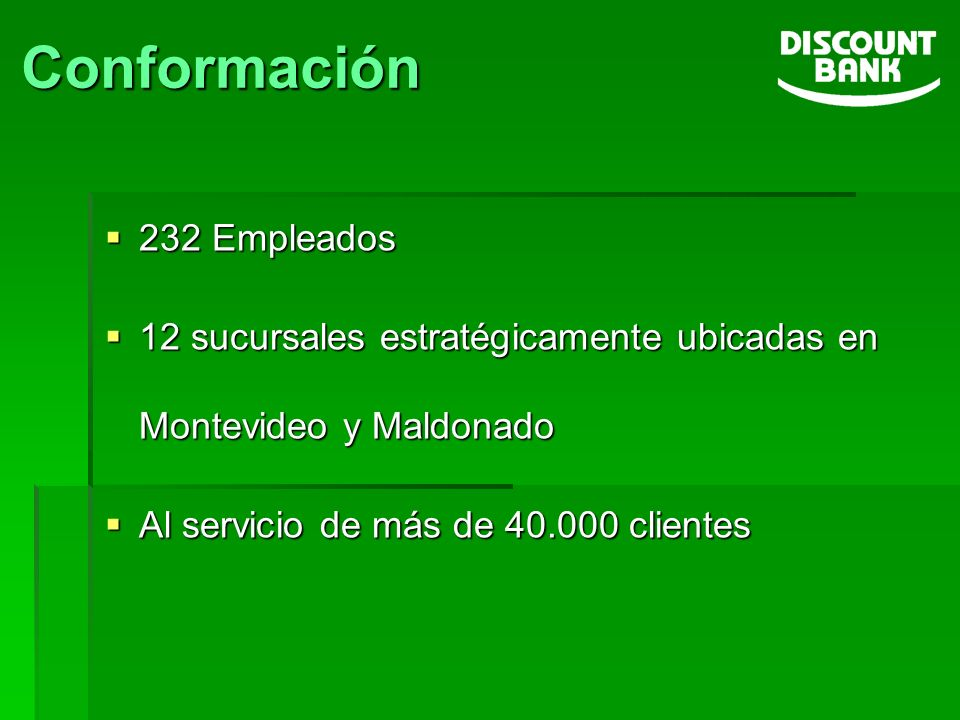 232 Empleados 232 Empleados 12 sucursales estratégicamente ubicadas en Montevideo y Maldonado 12 sucursales estratégicamente ubicadas en Montevideo y