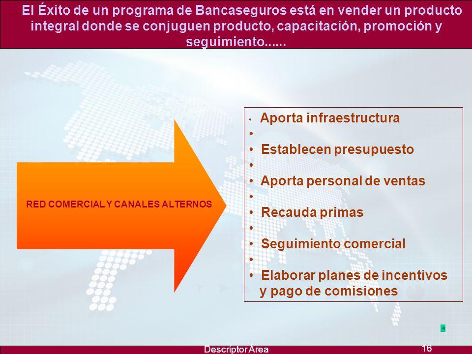 Descriptor Area 15... El Éxito de un programa de Bancaseguros está en vender un producto integral donde se conjuguen producto, capacitación, promoción