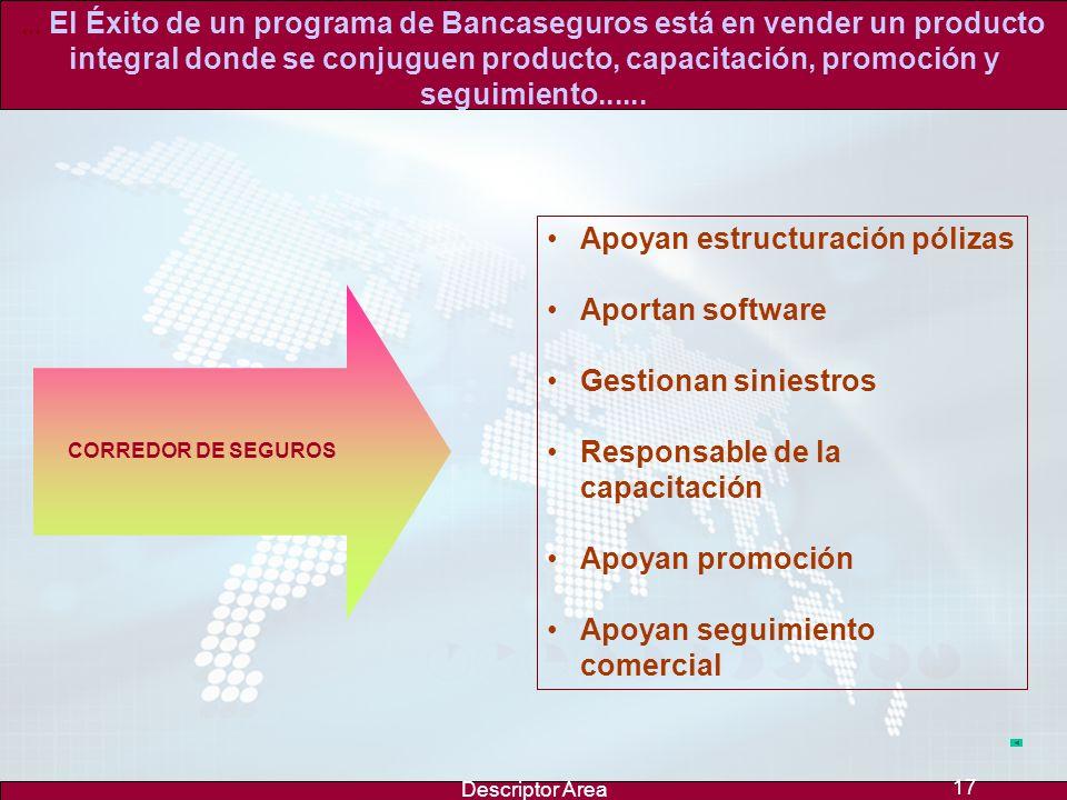 Descriptor Area 16... El Éxito de un programa de Bancaseguros está en vender un producto integral donde se conjuguen producto, capacitación, promoción