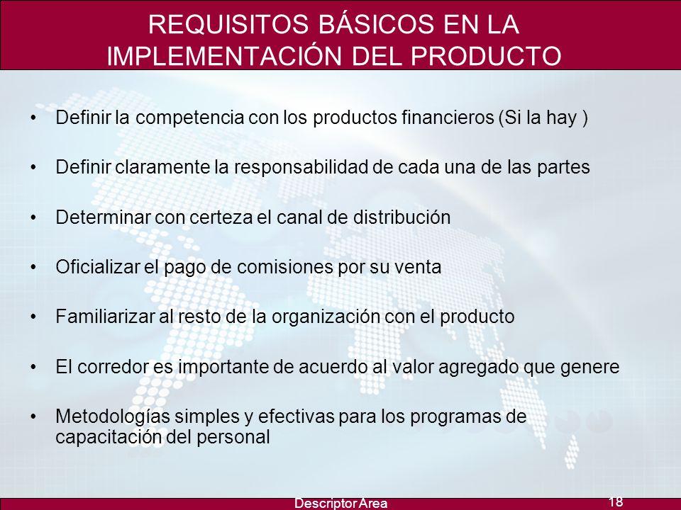 Descriptor Area 17... El Éxito de un programa de Bancaseguros está en vender un producto integral donde se conjuguen producto, capacitación, promoción
