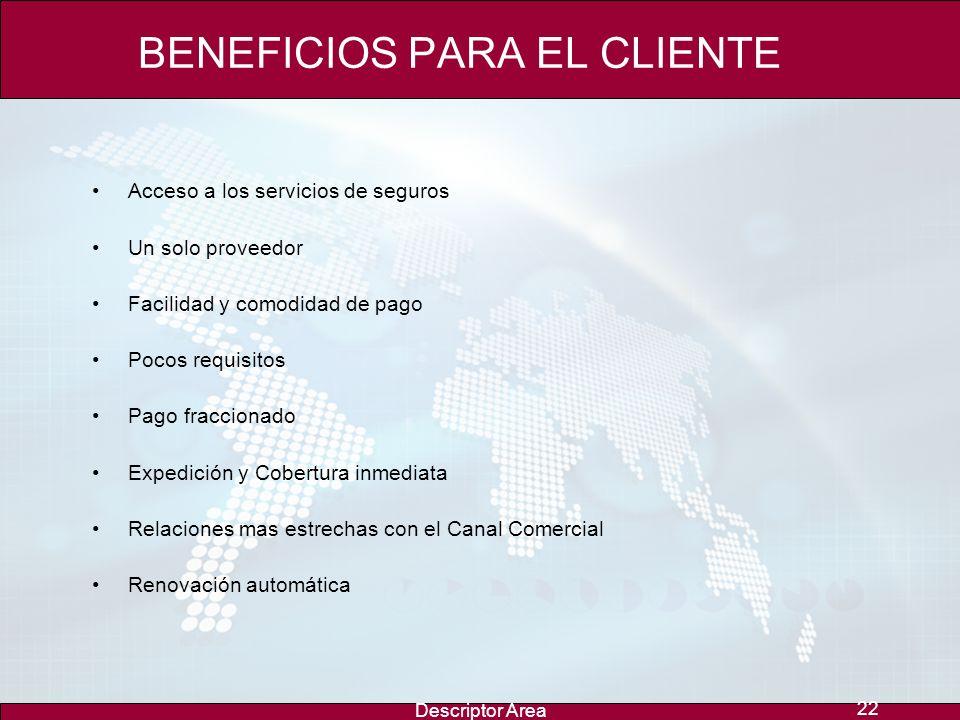 Descriptor Area 21 BENEFICIOS PARA EL CANAL COMERCIAL Ingresos para el Canal Comercial por comisiones, participación de Beneficios y manejo financiero