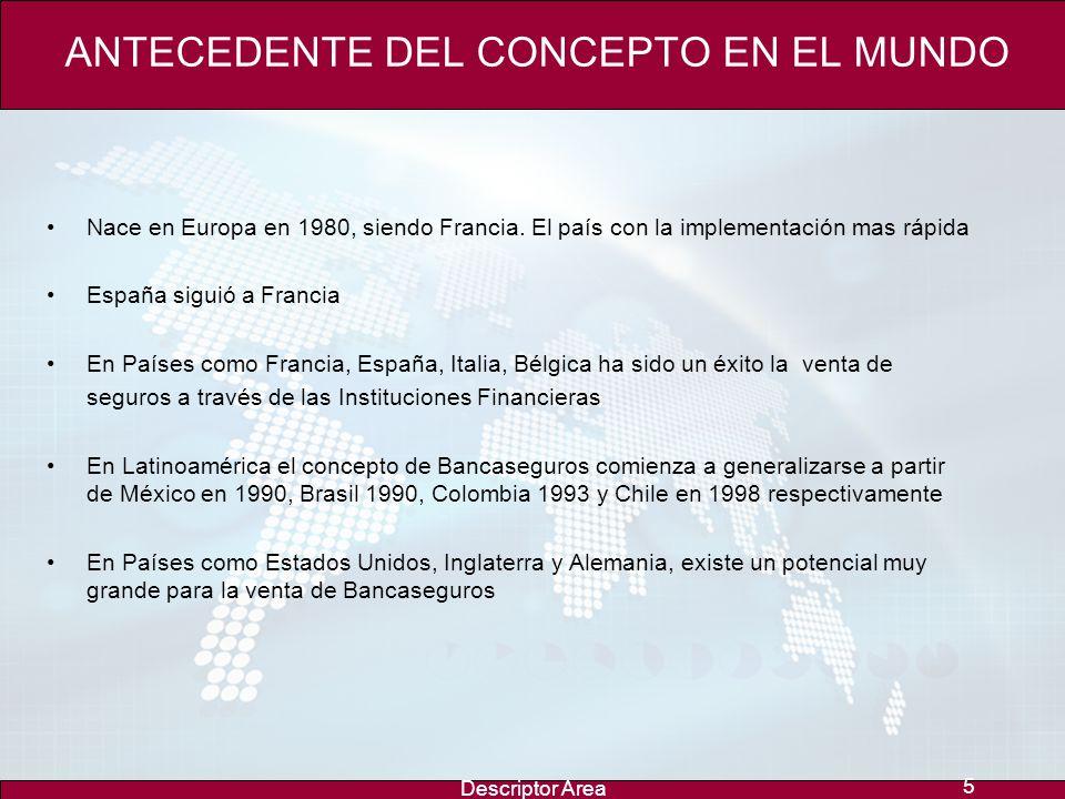 Descriptor Area 5 ANTECEDENTE DEL CONCEPTO EN EL MUNDO Nace en Europa en 1980, siendo Francia.