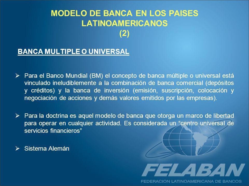 MODELO DE BANCA EN LOS PAISES LATINOAMERICANOS (2) BANCA MULTIPLE O UNIVERSAL Para el Banco Mundial (BM) el concepto de banca múltiple o universal est