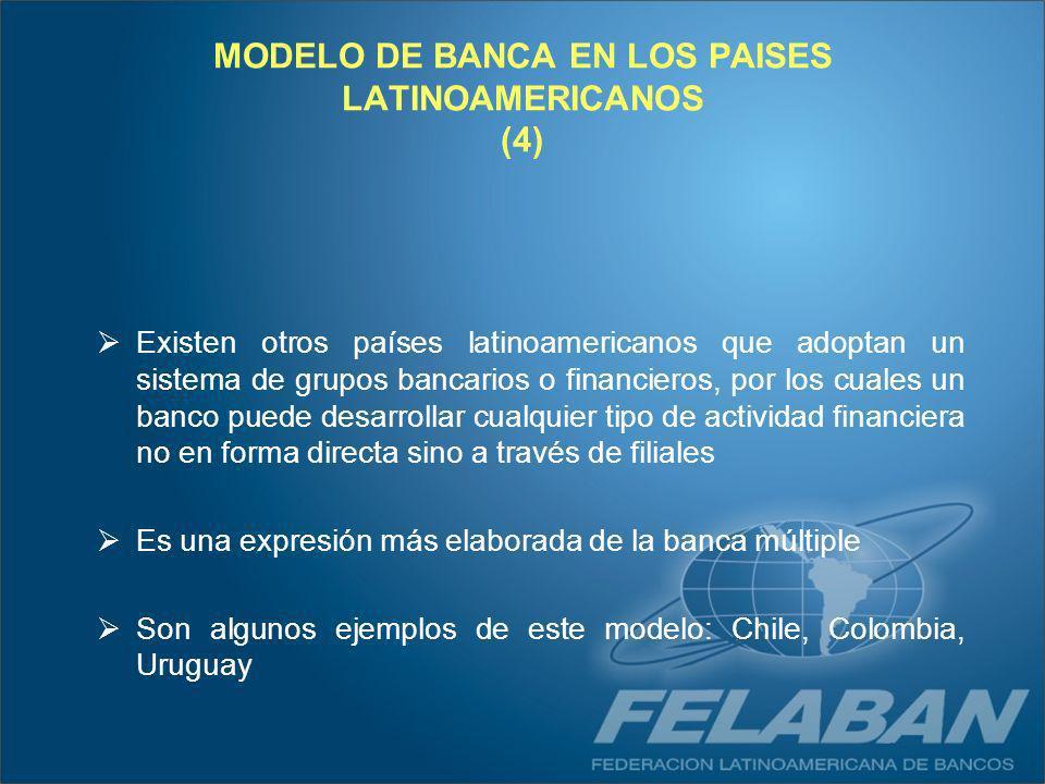 Existen otros países latinoamericanos que adoptan un sistema de grupos bancarios o financieros, por los cuales un banco puede desarrollar cualquier ti