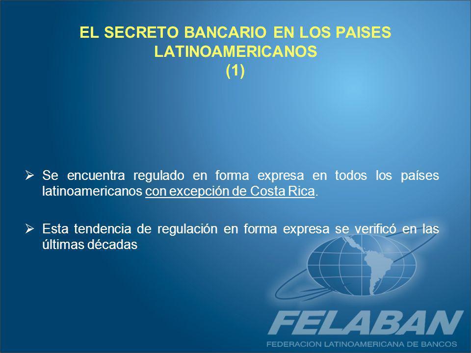 EL SECRETO BANCARIO EN LOS PAISES LATINOAMERICANOS (1) Se encuentra regulado en forma expresa en todos los países latinoamericanos con excepción de Co