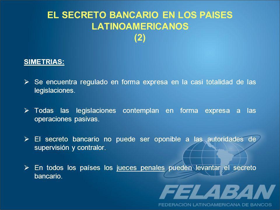 EL SECRETO BANCARIO EN LOS PAISES LATINOAMERICANOS (2) SIMETRIAS: Se encuentra regulado en forma expresa en la casi totalidad de las legislaciones. To
