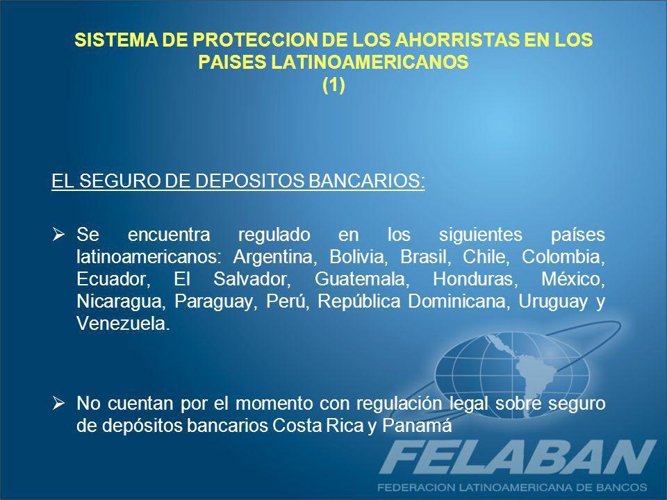 SISTEMA DE PROTECCION DE LOS AHORRISTAS EN LOS PAISES LATINOAMERICANOS (1) EL SEGURO DE DEPOSITOS BANCARIOS: Se encuentra regulado en los siguientes p