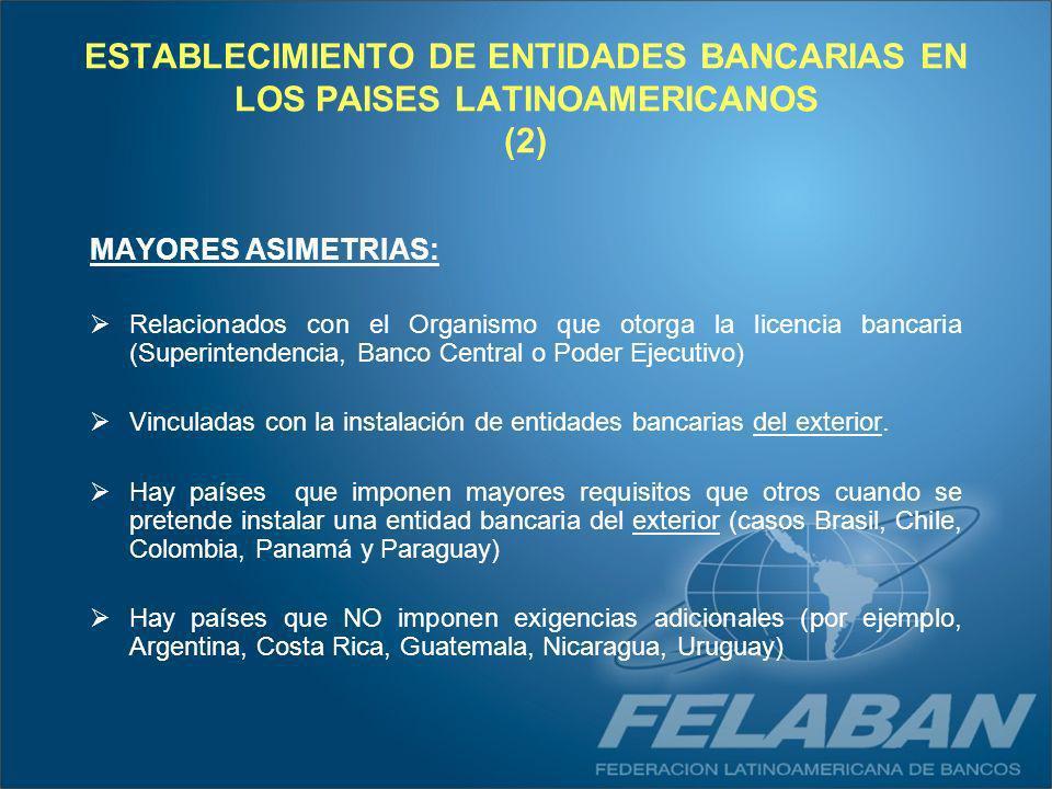 ESTABLECIMIENTO DE ENTIDADES BANCARIAS EN LOS PAISES LATINOAMERICANOS (2) MAYORES ASIMETRIAS: Relacionados con el Organismo que otorga la licencia ban