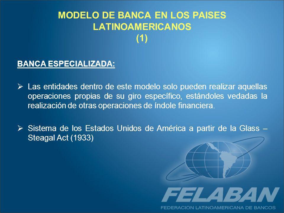 MODELO DE BANCA EN LOS PAISES LATINOAMERICANOS (1) BANCA ESPECIALIZADA: Las entidades dentro de este modelo solo pueden realizar aquellas operaciones