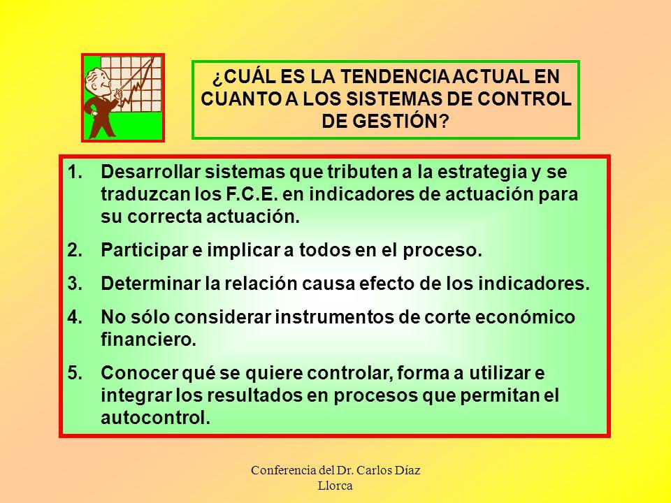 Conferencia del Dr. Carlos Díaz Llorca ¿CUÁL ES LA TENDENCIA ACTUAL EN CUANTO A LOS SISTEMAS DE CONTROL DE GESTIÓN? 1.Desarrollar sistemas que tribute