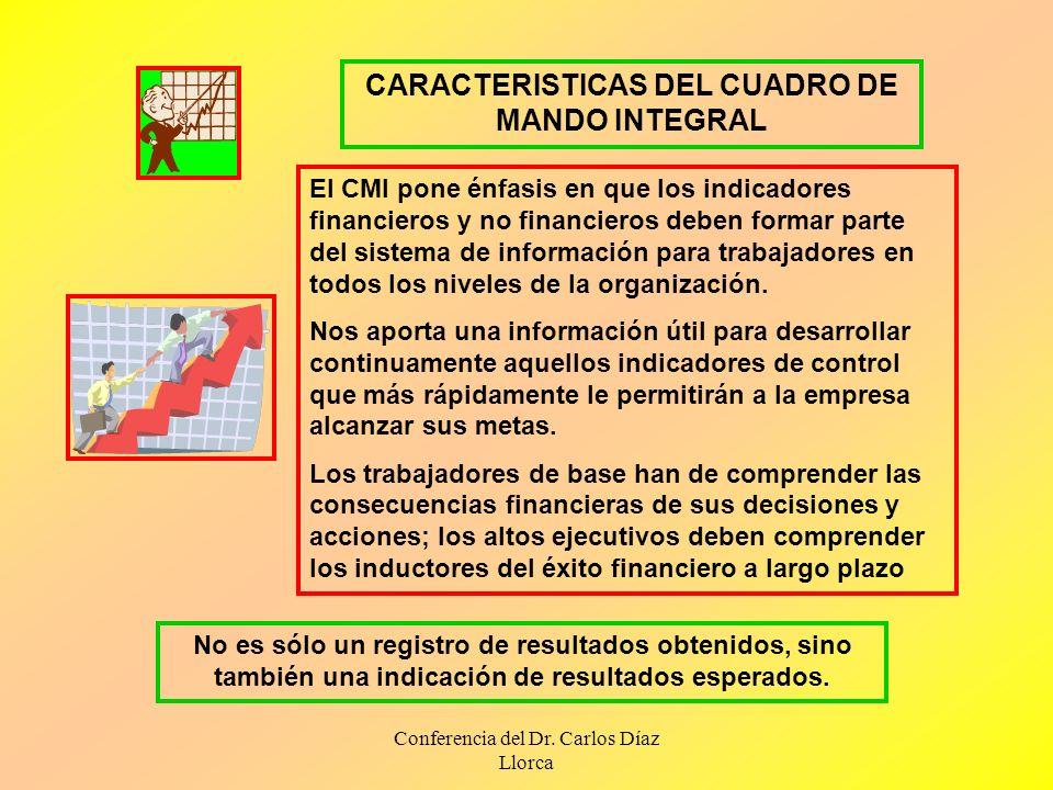 Conferencia del Dr. Carlos Díaz Llorca CARACTERISTICAS DEL CUADRO DE MANDO INTEGRAL El CMI pone énfasis en que los indicadores financieros y no financ